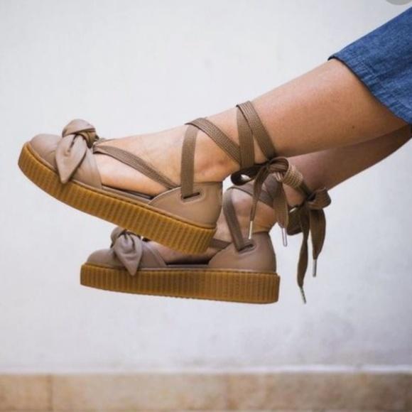 3e1ec0cbf44 Fenty Puma Bow Creeper Sandals by Rihanna Oatmeal.  M 5b7dc70634a4efe2b7ac1618